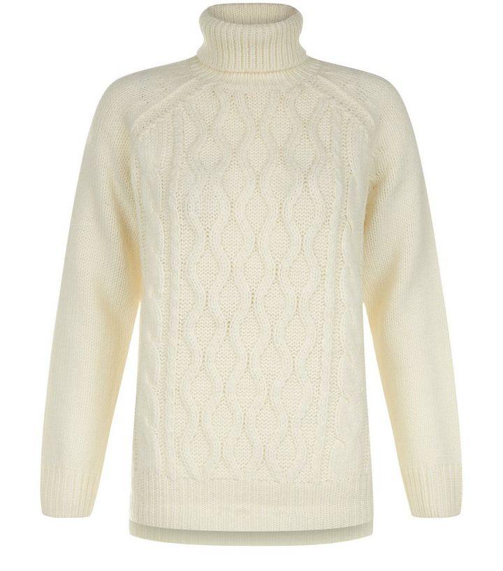 ca35b2d4ba57f4 Teens Cream Cable Knit Turtle Neck Jumper | New Look