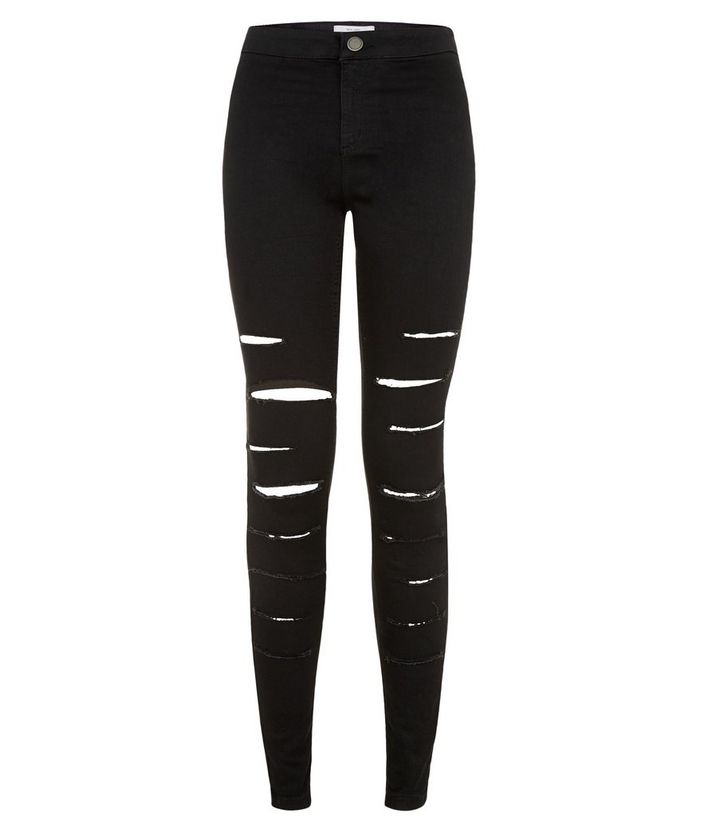 a8e3167954 Black Extreme Ripped High Waisted Super Skinny Jeans | New Look