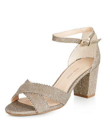 Teens Gold Shimmer Strappy Block Heel