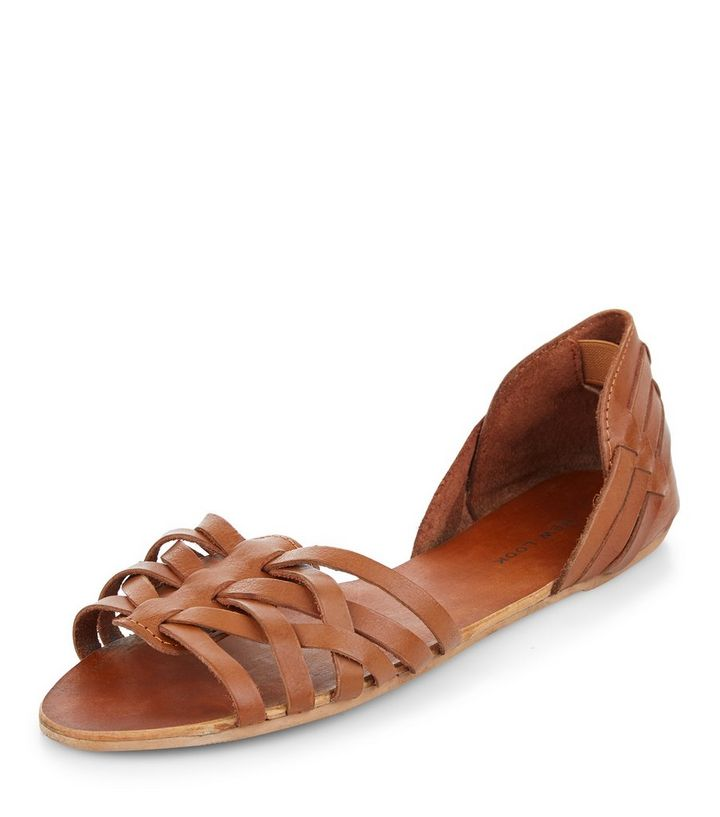 b6c1e06faf31 Tan Leather Woven Sandals