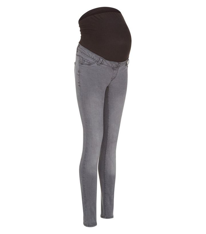 c12ecc0d3dfea Maternity Grey Overbump Supersoft Skinny Jeans | New Look