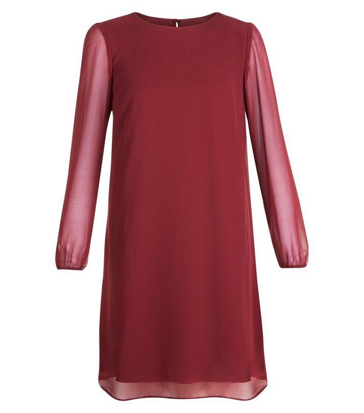 0c1a9f593ca Red Chiffon Long Sleeve Tunic Dress | New Look