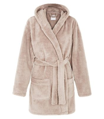 Tan Fleece Dressing Gown | New Look