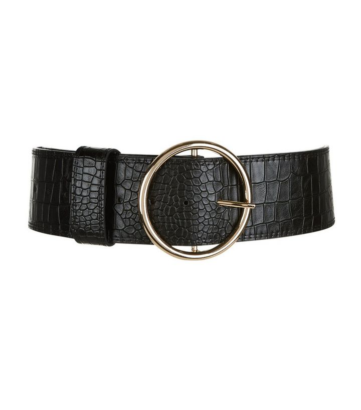 45e015481 Black Croc Texture Round Wide Buckle Waist Belt | New Look