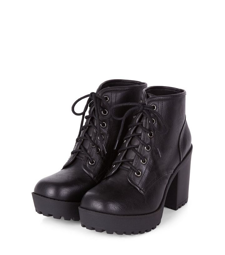 4b1c7cb0eb2 Black Lace Up Block Heel Ankle Boots Add to Saved Items Remove from Saved  Items