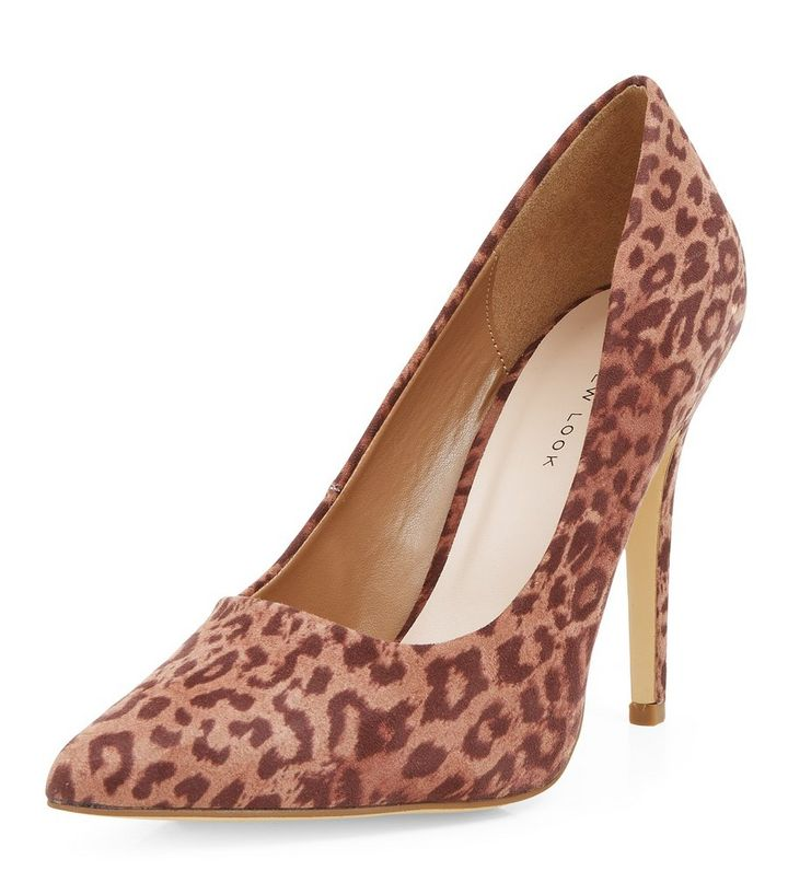 4507537523b6 Stone Leopard Print Pointed Court Shoes | New Look