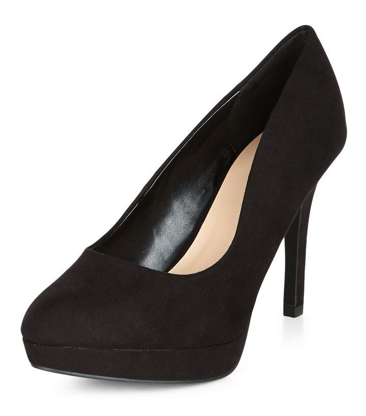 c88d1f8de92 Wide Fit Black Platform Court Shoes