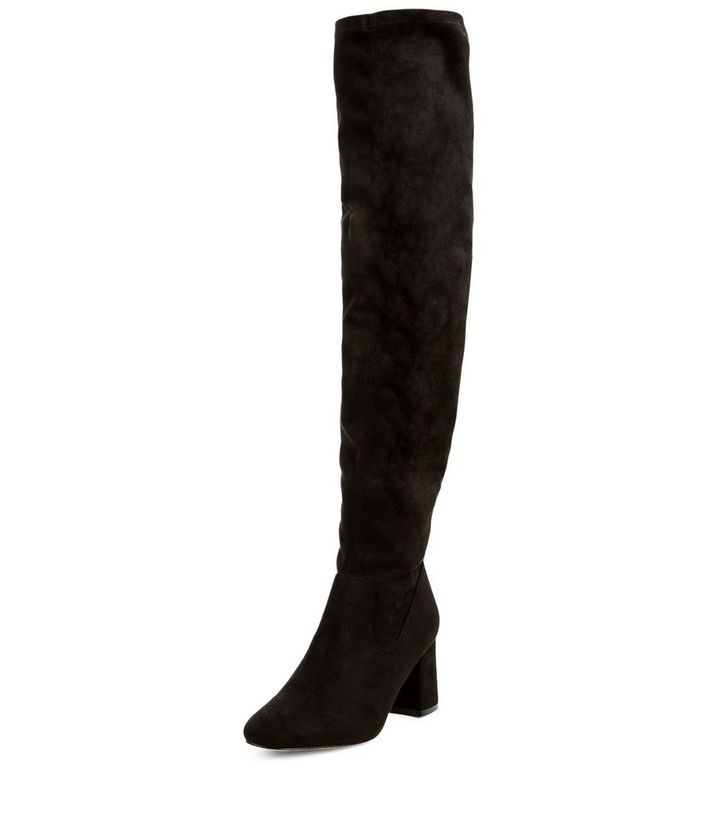 350b044076b Black Suedette Block Heel Over The Knee Boots