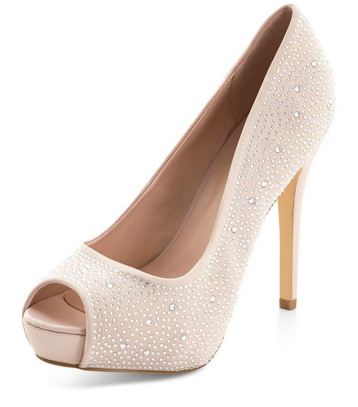 d23128913a Stone Diamante Peep Toe Heels | New Look