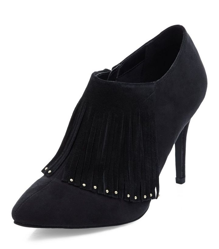 99fe7b2a98 Wide Fit Black Fringe Front Shoe Boots   New Look
