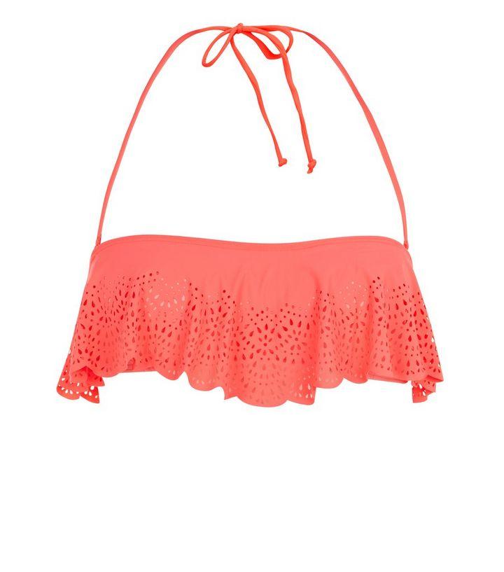 6dbbaee0c5 Coral Scallop Hem Laser Cut Out Flounce Bikini Top