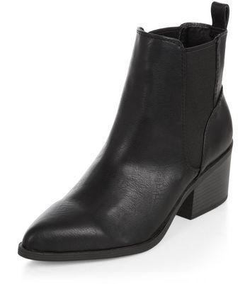 Black Pointed Block Heel Boots   New Look