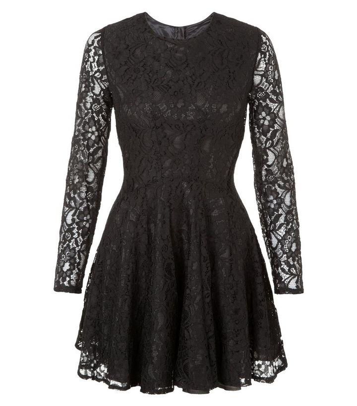 John Zack Black Long Sleeve Lace Skater Dress  eca8a3ee5
