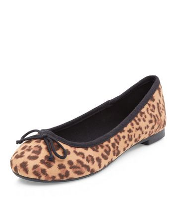 Stone Leopard Print Ballet Pumps   New Look