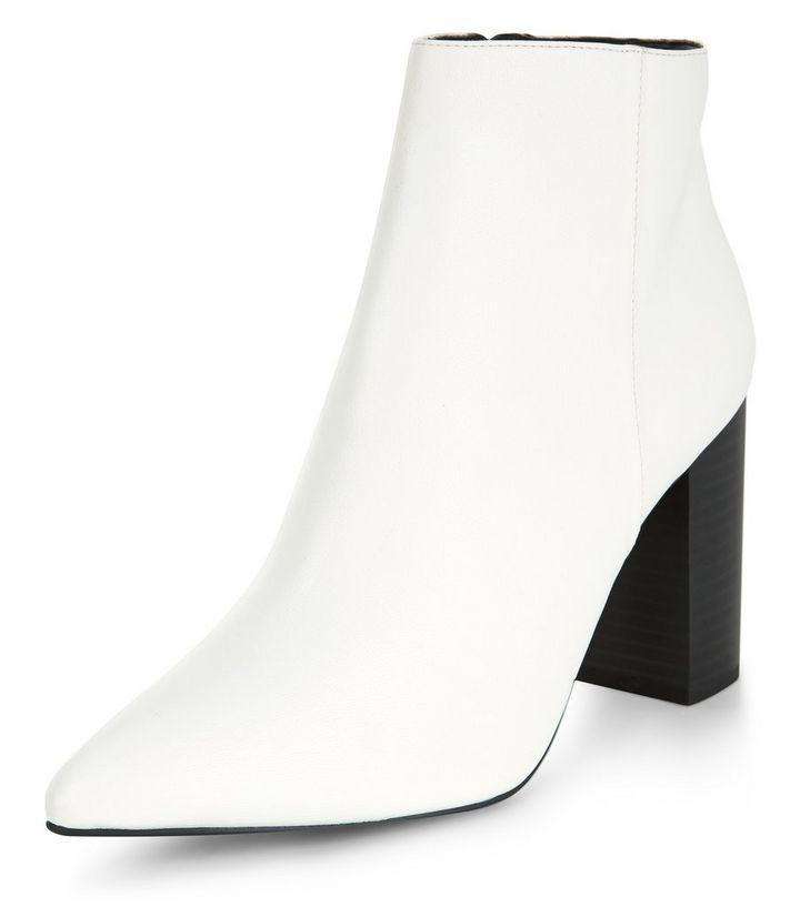 9498f891e2c5 Wide Fit White Block Heel Ankle Boots