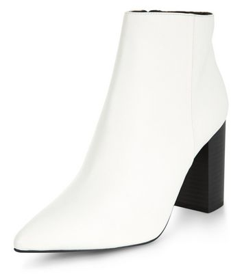 Wide Fit White Block Heel Ankle Boots