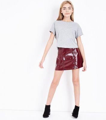 Teens Grey Roll Sleeve T-Shirt New Look