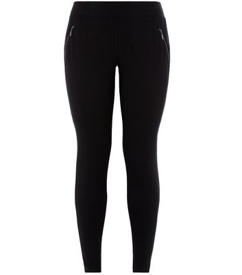 Curves Black Zip Pocket Leggings