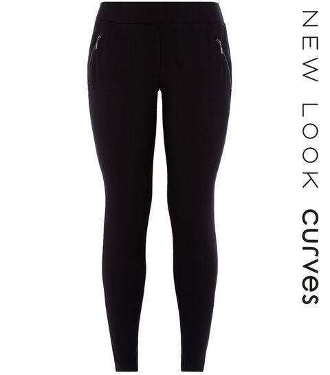9a2c5574aa3ec ... Curves Black Zip Pocket Leggings ...
