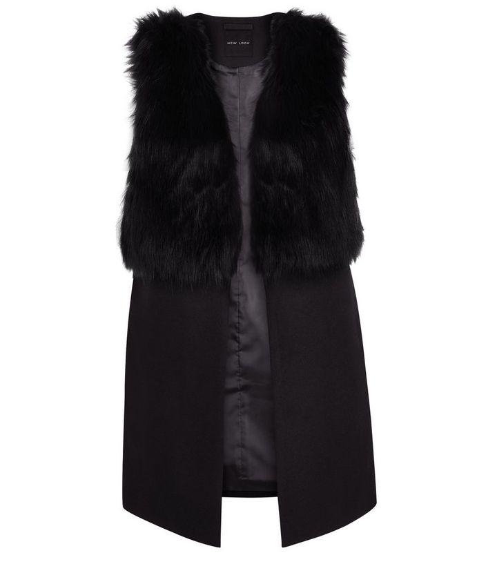 bc2c598ed4778 Black Faux Fur Contrast Sleeveless Jacket