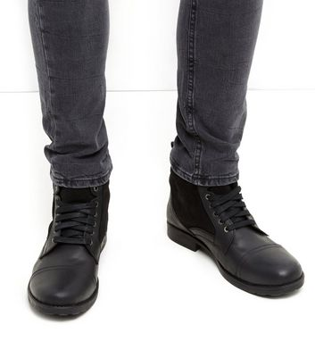 Black Leather Military Boots Add to Saved Items Remove from Saved Items