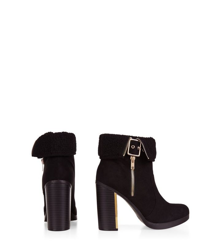 46b465bc850f ... Black Faux Shearling Cuff Block Heel Ankle Boots. ×. ×. ×. VIDEO Shop  the look