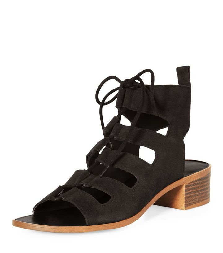 f0073f9f7b7b Black Suede Lace Up Ghillie Heeled Sandals