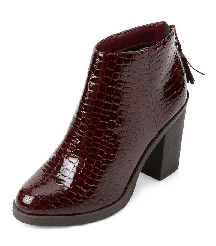 c37ad77d3b4 Dark Red Patent Croc Textured Block Heel Ankle Boots Add to Saved Items  Remove from Saved Items