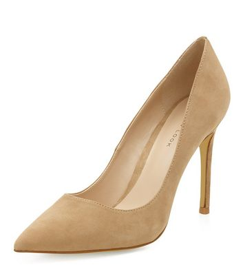 Nude Suede Pointed Court Shoes | New Look
