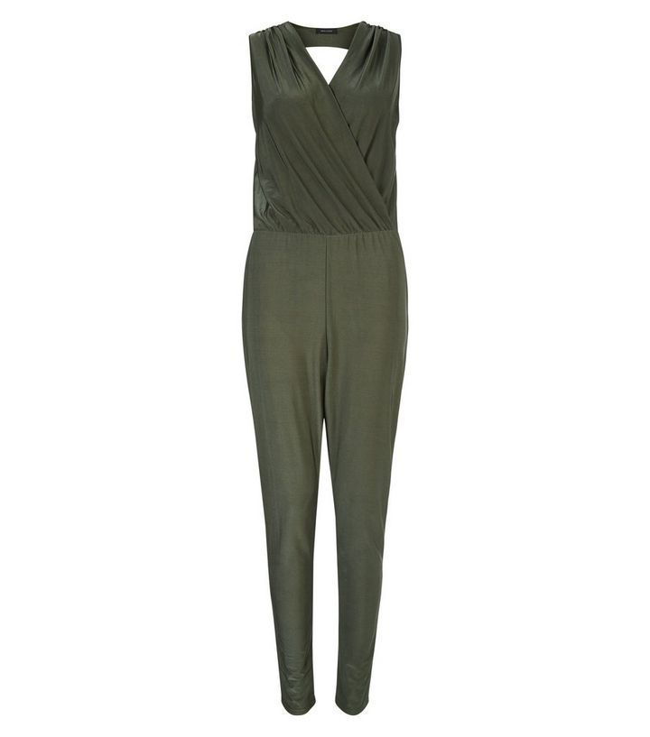 229ea846ac5 Khaki Slinky Wrap Sleeveless Jumpsuit