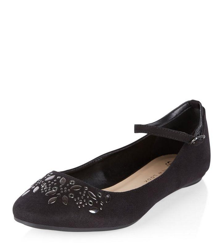 98b418a7147 Teens Black Embellished Ankle Strap Pumps