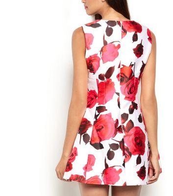 AX Paris Cream Floral Print Skater Dress New Look