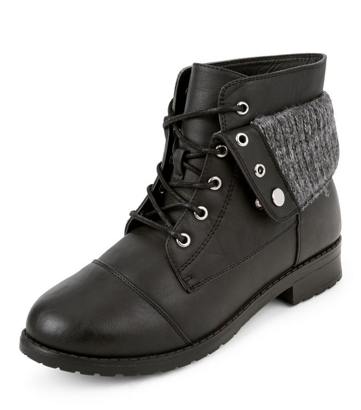 ebb7d0a72710 Wide Fit Black Lace Up Knit Cuff Ankle Boots