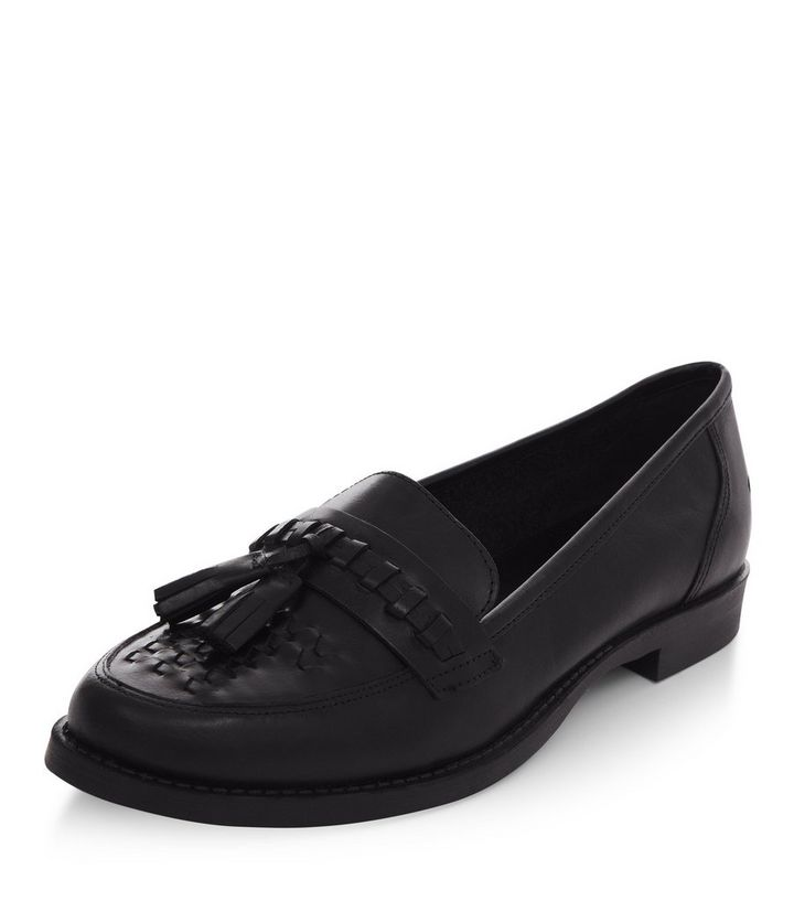 4584d202c2514 Black Leather Woven Tassel Front Loafers   New Look