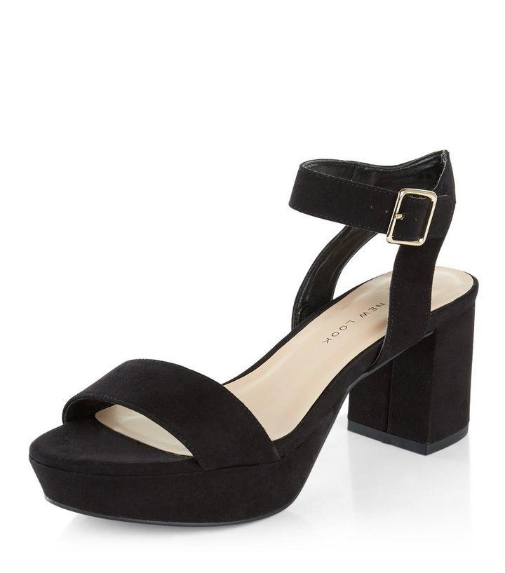 94baa8bb2a7a Teens Black Platform Block Heel Sandals