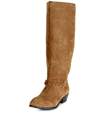 Wide Fit Tan Suede Plaited Strap Knee High Boots New Look