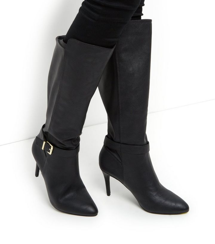 23fe9d1aca7 Black Stretch Back Heeled Knee High Boots Add to Saved Items Remove from  Saved Items