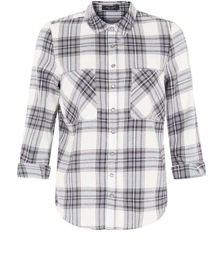 47643a122 Petite White Check Double Pocket Front Long Sleeve Shirt | New Look