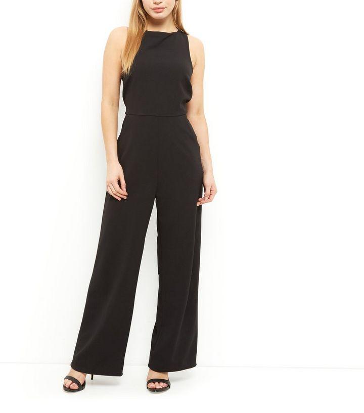 05663339c1 Home · Womens · Clothing · Dresses · Petite Black Lace Trim Wide Leg  Jumpsuit. ×. ×. ×. Shop the look
