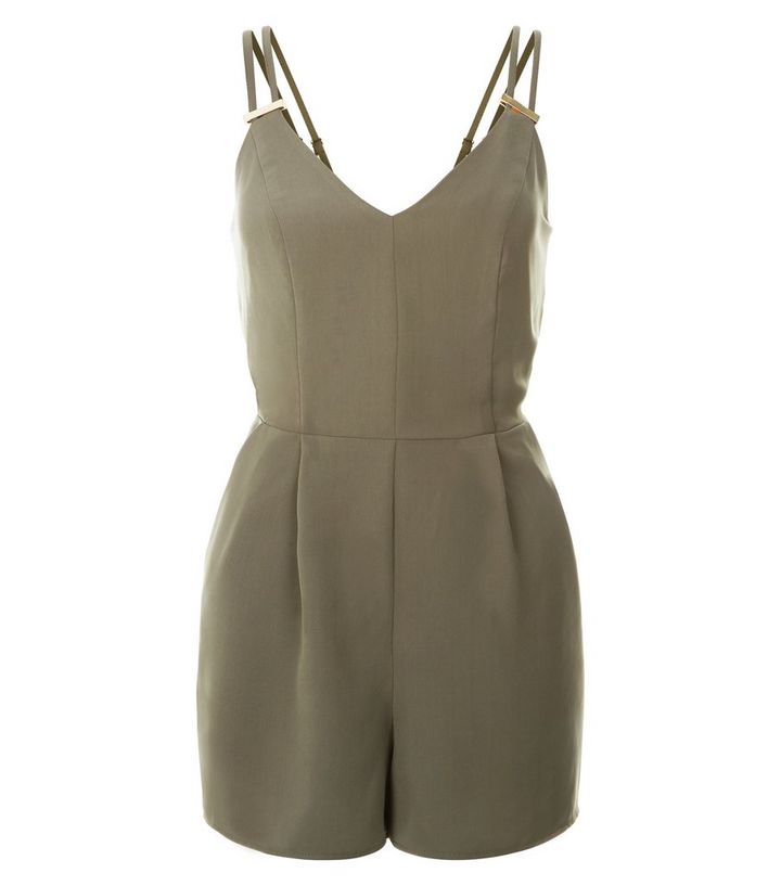 dca5fa1d549 Khaki Metal Bar Double Strap Playsuit