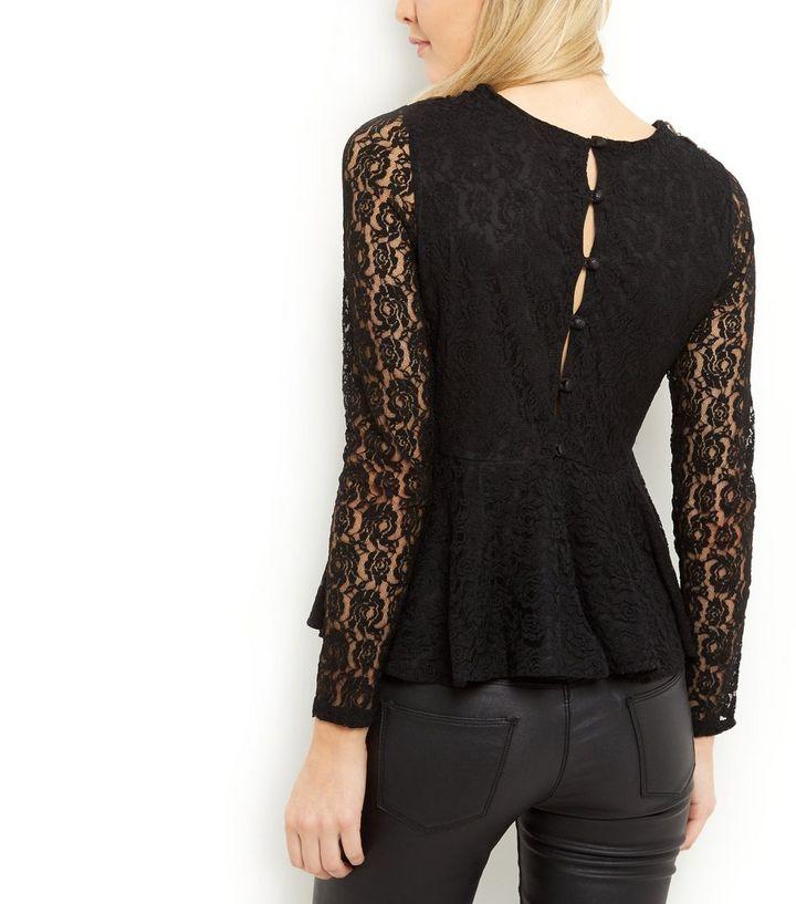 23bae5a1029e5a Blue Vanilla Black Lace Embellished Peplum Top | New Look