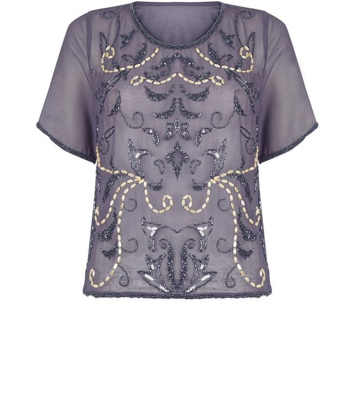 b22ce4dc7b2 Blue Vanilla Grey Embellished Top