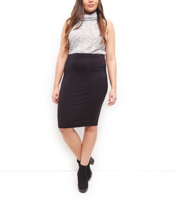 Curves Black Pencil Skirt New Look