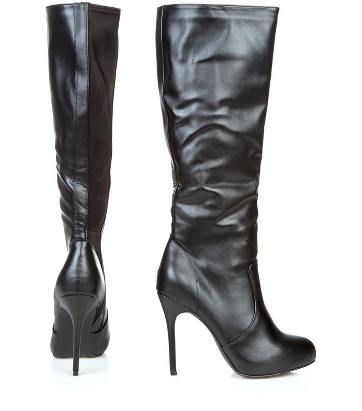 e9d3fc671df Black Faux Leather Stretch Heeled Knee High Boots Add to Saved Items Remove  from Saved Items