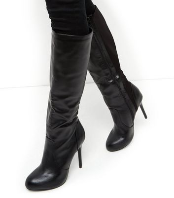 Black Faux Leather Stretch Heeled Knee