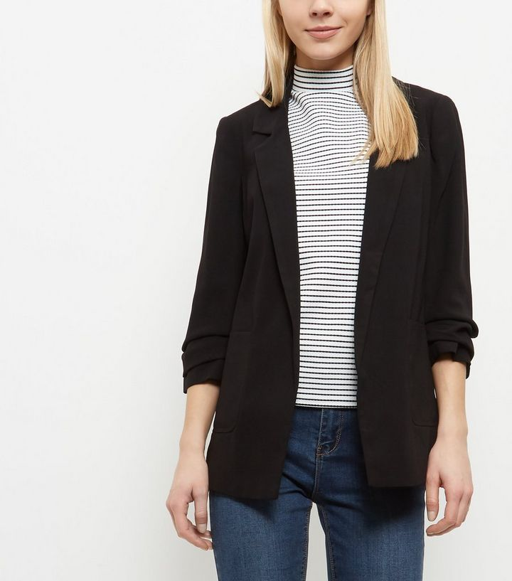 aec14e190d0f8 ... Black Ruched Sleeve Longline Blazer. ×. ×. ×. Shop the look