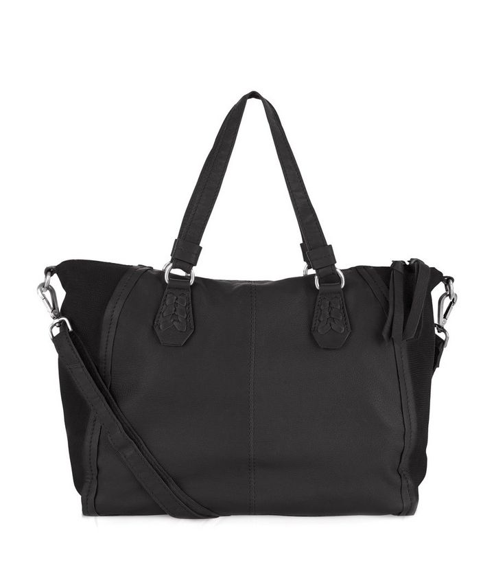 325666525e8 Black Leather Slouch Tote Bag | New Look