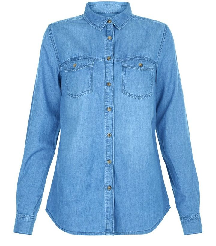 384bef36678 Tall Blue Double Pocket Denim Shirt