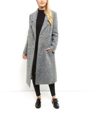 Anita and Green Grey Double Breasted Longline Coat New Look