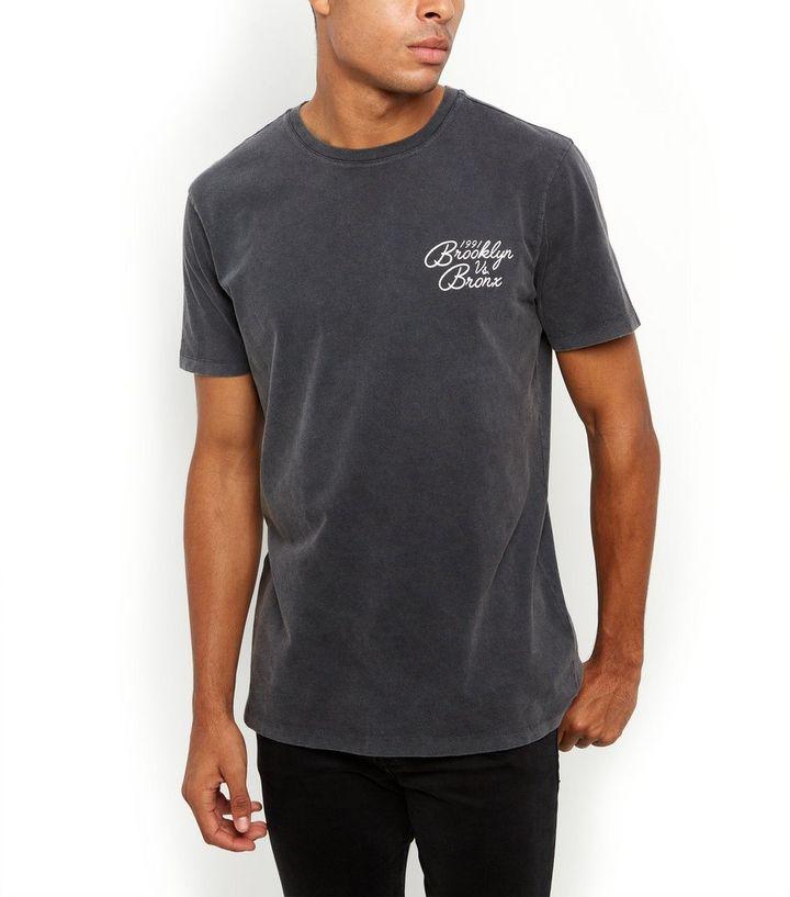 9defa8a6 Dark Grey Wash Brooklyn Vs Bronx T-Shirt   New Look